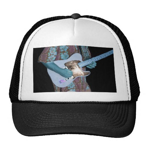 guitar player painting blue neat abstract musician trucker hats