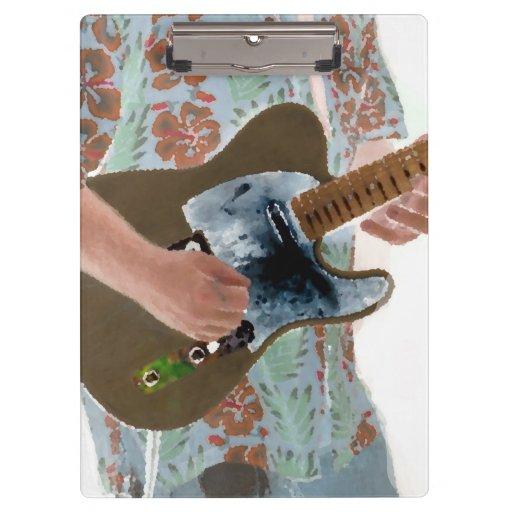 guitar player painting invert music design clipboard