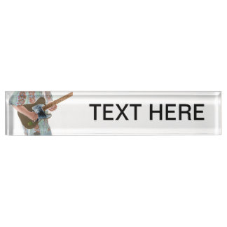 guitar player painting invert music design desk name plate