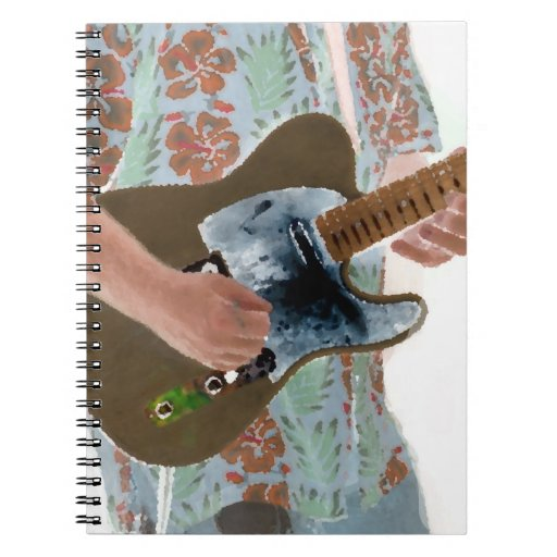 guitar player painting invert music design spiral note books