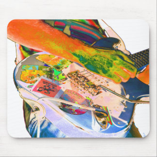Guitar player,  psychadelic colors music design mouse mat
