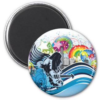 Guitar Player ~ Rock Heavy Metal Band Music 6 Cm Round Magnet