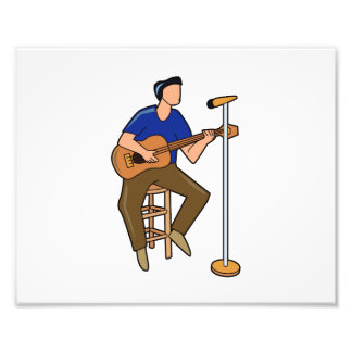 guitar player sitting abstract mic blue png photo