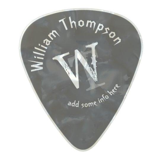 guitar-player's monogram - personalised black rock pearl