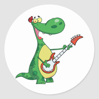 Guitar Playing Dinosaur Stickers Round Sticker