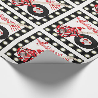 Guitar Record and Music Notes With Light Border LG Wrapping Paper