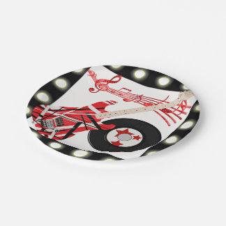 Guitar Record and Music Notes With Light Border Paper Plate