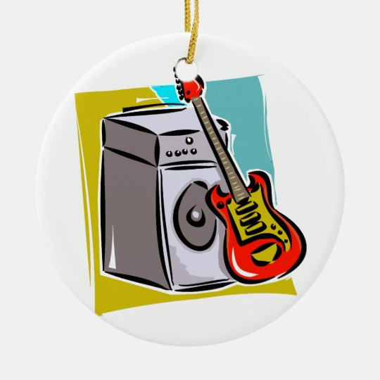 Guitar Red Leaning on Amp Graphic Christmas Ornament