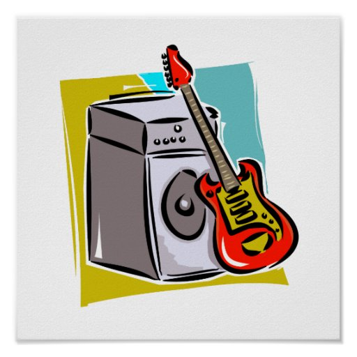 Guitar Red Leaning on Amp Graphic Posters