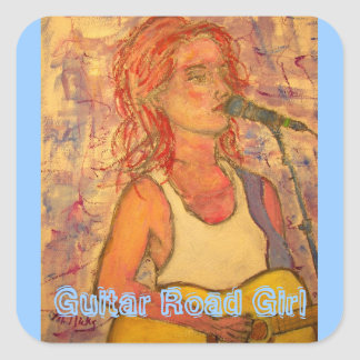 Guitar Road Girl Square Sticker