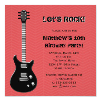 Guitar Rock Star 13 Cm X 13 Cm Square Invitation Card
