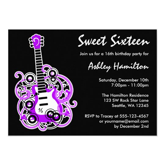 Guitar Rock Star Sweet 16 Birthday Party Purple