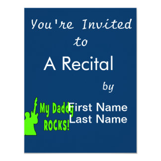 guitar rocks holding up electric green daddy rocks custom invites