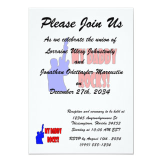 guitar rocks holding up electric red blue daddy 13 cm x 18 cm invitation card