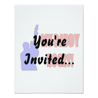 guitar rocks holding up electric red blue daddy invitation