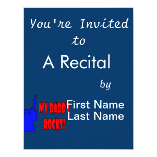 guitar rocks holding up electric red blue daddy personalized invitation