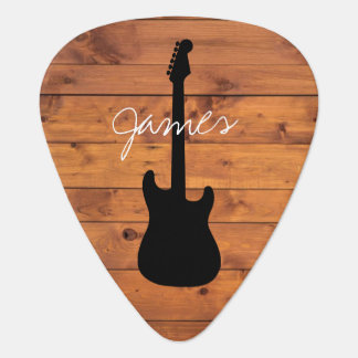 Guitar Rustic Wood Handwritten Name Plectrum