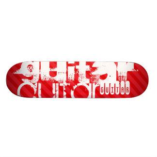 Guitar; Scarlet Red Stripes 20 Cm Skateboard Deck