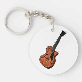 guitar semi hollow graphic brown.png Double-Sided round acrylic key ring