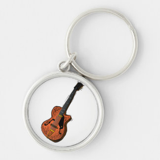 guitar semi hollow graphic brown.png Silver-Colored round key ring