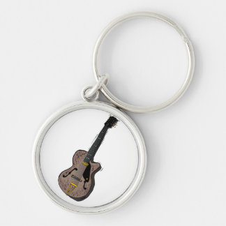 guitar semi hollow graphic grey.png Silver-Colored round key ring