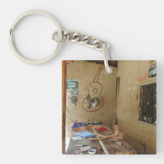 Guitar Shop in Ecuador Double-Sided Square Acrylic Keychain