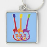 guitar Silver-Colored square key ring