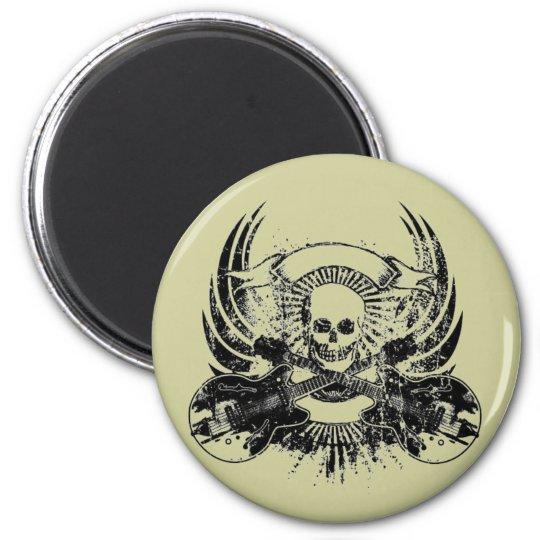 Guitar Skull 6 Cm Round Magnet