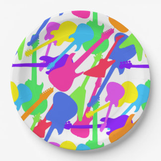 Guitar Splash Pattern Paper Plate