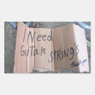 Guitar Strings Rectangular Sticker