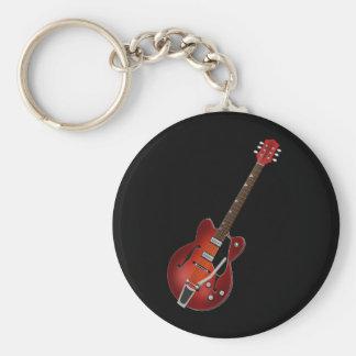 Guitar Sunburst Hollow Body Basic Round Button Key Ring