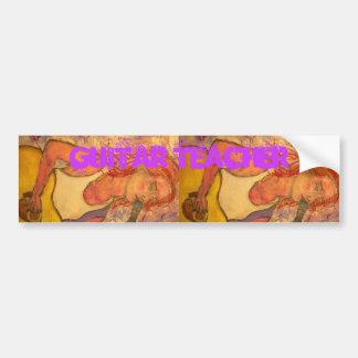 guitar teacher art bumper sticker