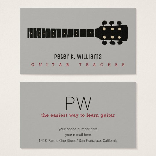 guitar teacher business card with guitar-neck