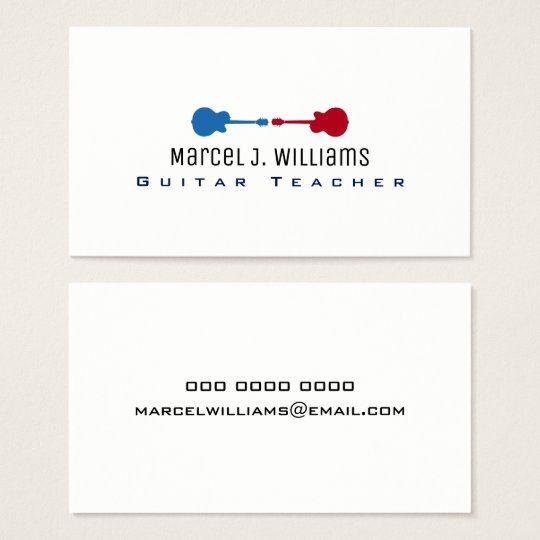 guitar teacher cool music white business card