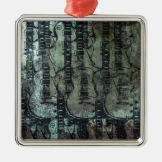 Guitar Teal Green Black Collage Silver-Colored Square Decoration