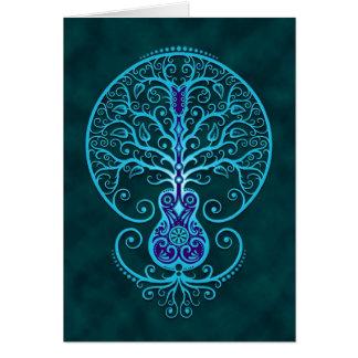 Guitar Tree Blue Greeting Card