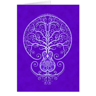 Guitar Tree – blue Greeting Cards