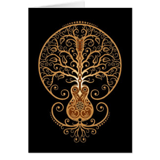 Guitar Tree Brown and Black Greeting Cards