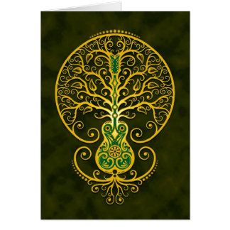 Guitar Tree Golden Green Cards