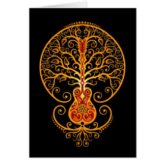 Guitar Tree Golden Red and Black Greeting Cards