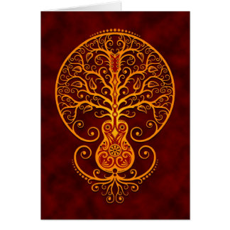 Guitar Tree Golden Red Greeting Card