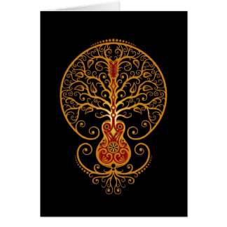 Guitar Tree – Golden Red on Black Greeting Card
