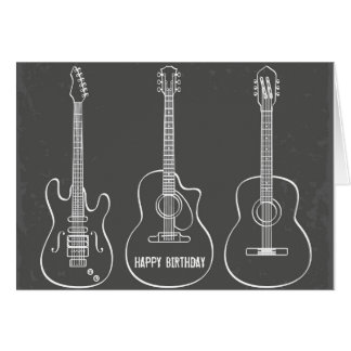 Guitar trio retro grunge music birthday greeting card