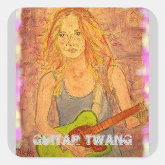 Guitar Twang Girl Square Sticker
