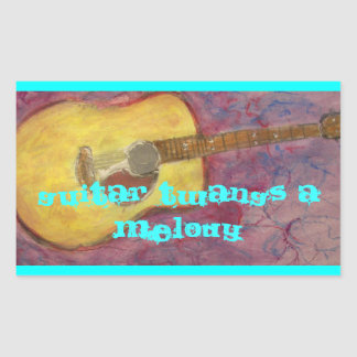 guitar twangs a melody Acoustic Rectangular Stickers