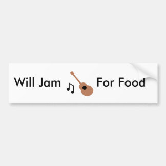 Guitar, Will Jam, For Food Bumper Sticker