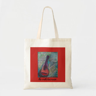 Guitar with music, moon, and add your words. tote bag