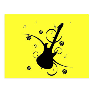 Guitar With Musical Notes Postcard