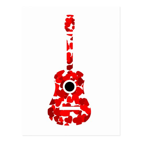 Guitar with red hearts postcard
