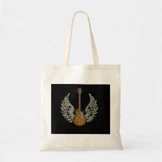 Guitar with wings tote bag